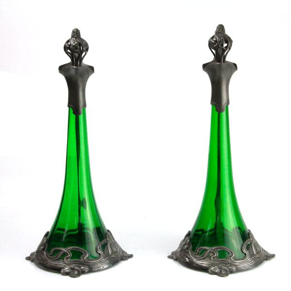 Pasarel Art Nouveau Wmf Ak Amp Cie Pair Of Pewter Amp Green