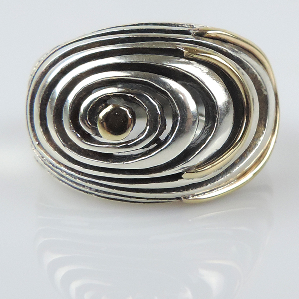 pasarel 14k yellow gold sterling silver spiral ring